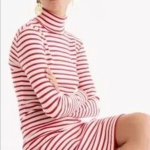 Jcrew striped turtleneck red cream dress small